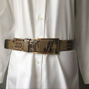 Accessories - Faux Snakeskin Leather Belt